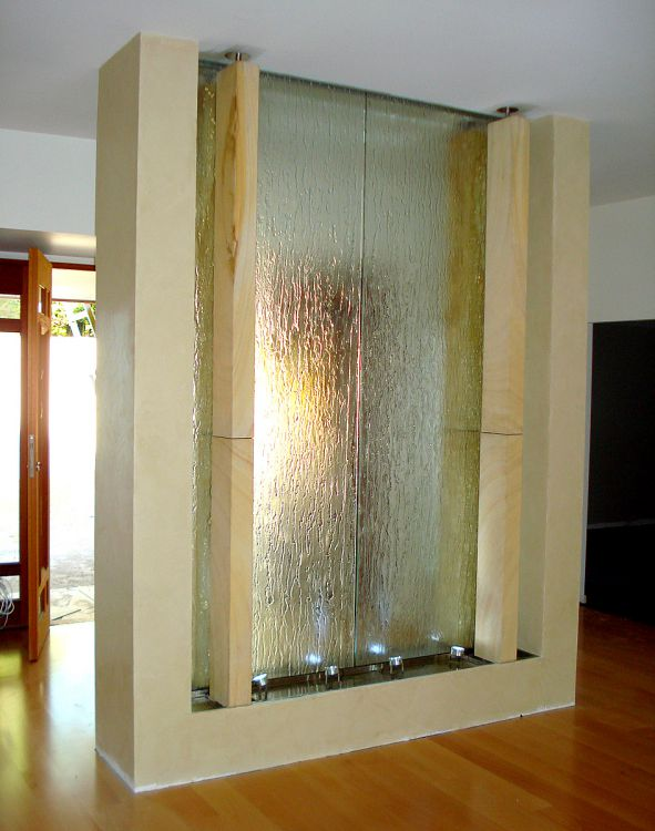 Slumped Glass and Sandstone Water Feature