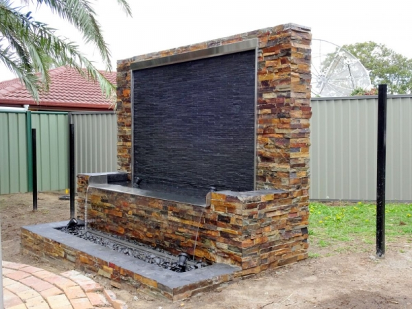 Stacked Stone Water Feature with Spill Way