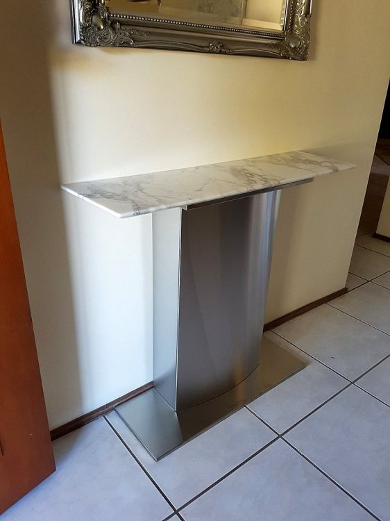 Stainless Steel and Marble Entry Table