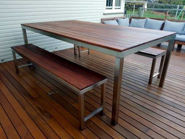 Timber and Stainless Steel Table and Bench Seats